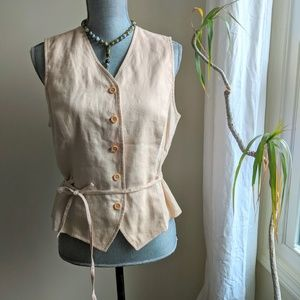 [Ann Taylor] Vintage Linen Button Up Vest - Sz L